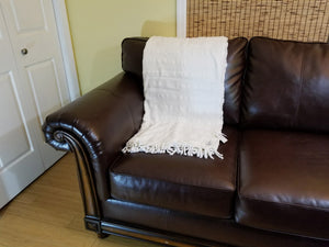 Large 'Almost White' Stonewashed Thin Turkish Throw Blanket