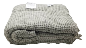 Beige Waffle Stonewashed Thin Turkish Throw Blanket
