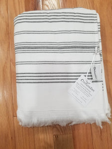 White and Black Turkish Bath Towel With Terry Cloth Lining - 100% Cotton