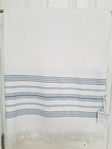 White and Navy Turkish Bath Towel With Terry Cloth Lining - 100% Cotton