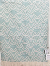 Load image into Gallery viewer, Teal Art Deco Inspired Turkish Towel with Terry Cloth Lining in Fan Design