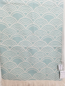 Teal Art Deco Inspired Turkish Towel with Terry Cloth Lining in Fan Design