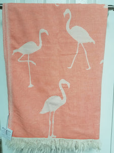 Coral Flamingo Turkish Towel – THIN 100% Cotton Beach Towel