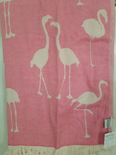 Load image into Gallery viewer, Pink Flamingo Turkish Towel – THIN 100% Cotton Beach Towel