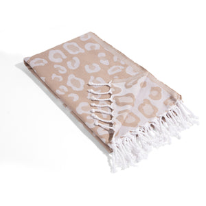 Beige Leopard Print THIN Reversible Turkish Towel Peshtemal