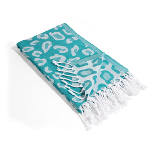 Teal Leopard Print THIN Reversible Turkish Towel Peshtemal
