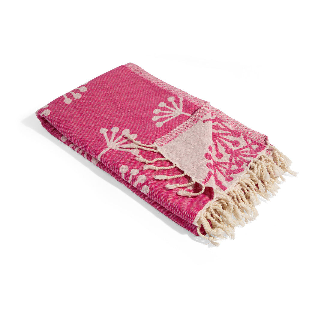 Fuchsia Turkish Towel with Dandelion Flower Print - Prewashed for Soft Feel - 100% Cotton