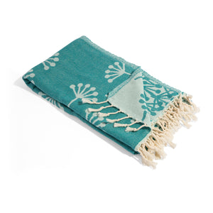 SeaGreen Turkish Towel with Dandelion Flower Print - Prewashed for Soft Feel - 100% Cotton