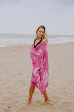 Load image into Gallery viewer, Fuchsia Turkish Towel with Dandelion Flower Print - Prewashed for Soft Feel - 100% Cotton