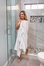 Load image into Gallery viewer, White and Grey Turkish Bath Towel With Terry Cloth Lining - 100% Cotton