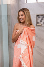 Load image into Gallery viewer, Coral Flamingo Turkish Towel – THIN 100% Cotton Beach Towel