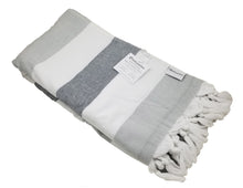 Load image into Gallery viewer, InfuseZen Soft Terryback Large Turkish Towel - Striped Terry Backed Peshtemal Bath Towel, Gym & Beach Towel, Thin Oversized Hammam Towel, Plus Size Fouta (Shades of Grey)