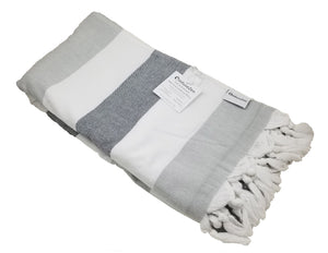 InfuseZen Soft Terryback Large Turkish Towel - Striped Terry Backed Peshtemal Bath Towel, Gym & Beach Towel, Thin Oversized Hammam Towel, Plus Size Fouta (Shades of Grey)