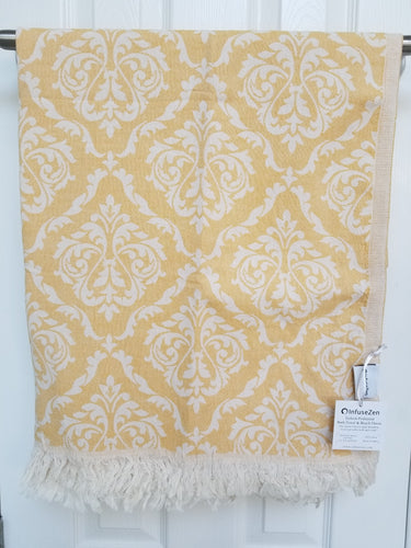 Golden Damask Turkish Towel Beach or Bath Peshtemal