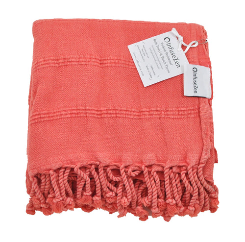 Coral Stonewashed Turkish Peshtemal Towels for the Bath, Beach, Pool, Spa or Gym