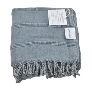 Denim Stonewashed Turkish Peshtemal Towels for the Bath, Beach, Pool, Spa or Gym