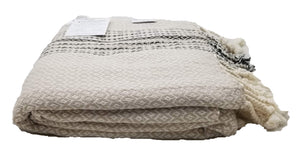 Beige and Black Zig Zag Diamond Woven Turkish Towel