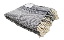 Load image into Gallery viewer, Smoke Grey and Black Zig Zag Diamond Woven Turkish Towel