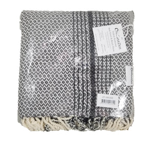 Smoke Grey and Black Zig Zag Diamond Woven Turkish Towel