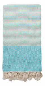 Aqua and Cream Diamond Weave Turkish Towel