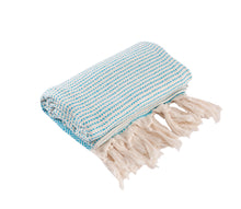 Load image into Gallery viewer, Aqua and Cream Diamond Weave Turkish Towel