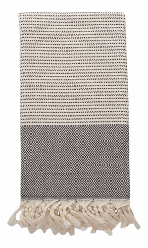 Black and Cream Diamond Weave Turkish Towel