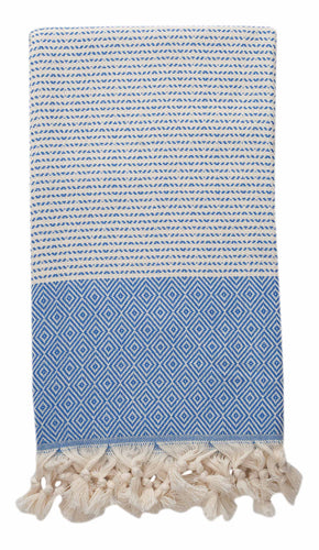 Blue and Cream Diamond Weave Turkish Towel