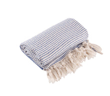 Load image into Gallery viewer, Blue and Cream Diamond Weave Turkish Towel