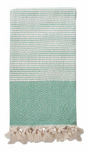 Load image into Gallery viewer, Sea Green and Cream Diamond Weave Turkish Towel