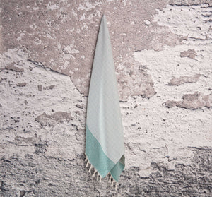 Sea Green and Cream Diamond Weave Turkish Towel
