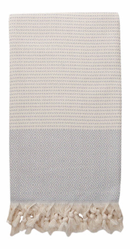 Grey and Cream Diamond Weave Turkish Towel