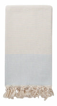 Load image into Gallery viewer, Ice Blue-Grey and Cream Diamond Weave Turkish Towel