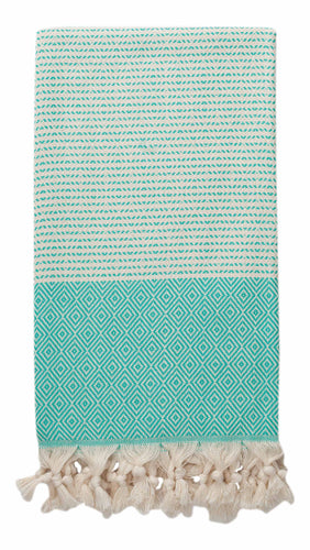Mint Green and Cream Diamond Weave Turkish Towel