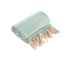 Load image into Gallery viewer, Mint Green and Cream Diamond Weave Turkish Towel