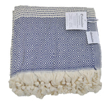 Load image into Gallery viewer, Navy Blue and Cream Diamond Weave Turkish Towel