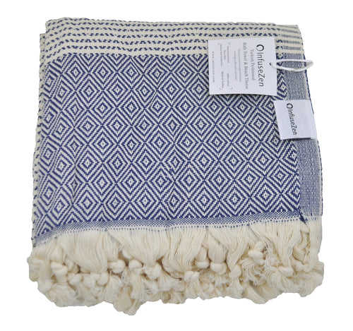 Navy Blue and Cream Diamond Weave Turkish Towel