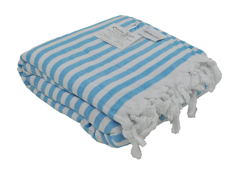 Aqua and White Striped Terry Backed Turkish Towel