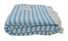 Load image into Gallery viewer, Aqua and White Striped Terry Backed Turkish Towel
