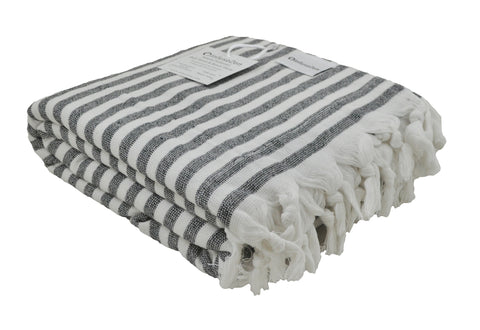 Black and White Striped Terry Backed Turkish Towel