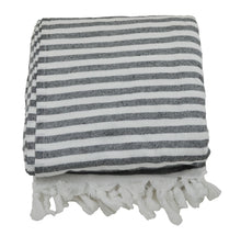 Load image into Gallery viewer, Black and White Striped Terry Backed Turkish Towel