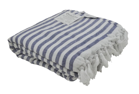 Navy Blue and White Striped Terry Backed Turkish Towel
