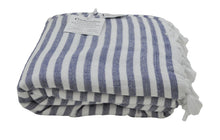 Load image into Gallery viewer, Navy Blue and White Striped Terry Backed Turkish Towel