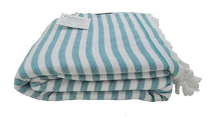 Sea Green and White Striped Terry Backed Turkish Towel