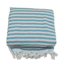 Load image into Gallery viewer, Sea Green and White Striped Terry Backed Turkish Towel