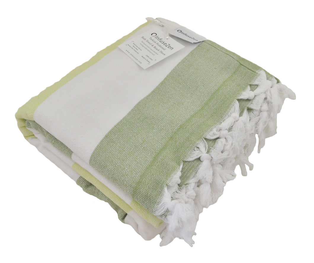 Green and Pistachio Striped Turkish Towel with Soft Terry Cloth Back