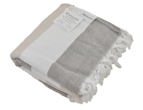 Brown and Beige Striped Turkish Towel with Soft Terry Cloth Back