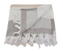 Load image into Gallery viewer, InfuseZen Large Turkish Towel with Soft Terryback, Striped Peshtemal Terry Back Turkish Bath Towel, Gym & Beach Towel, Thin Oversized Hammam Towel, Plus Size Fouta, Big Bath Sheet (Brown & Beige)