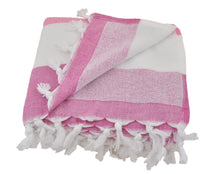 Load image into Gallery viewer, Pink & Fuchsia Striped Turkish Towel with Soft Terry Cloth Back