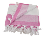 Pink & Fuchsia Striped Turkish Towel with Soft Terry Cloth Back