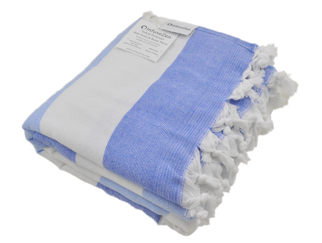 Blue and White Striped Turkish Towel with Soft Terry Cloth Back